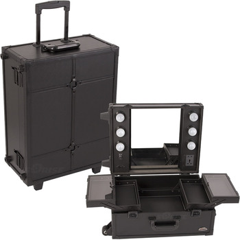 Top Sale Black Professional Makeup Trolley Case With Lights Portable Makeup  Station