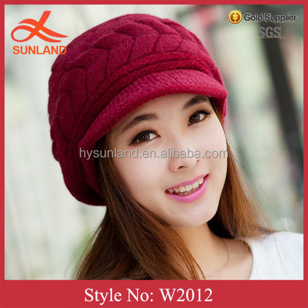 W2012 fashion red screw cover hats popular top ball winter fur pom poms knitted hat women
