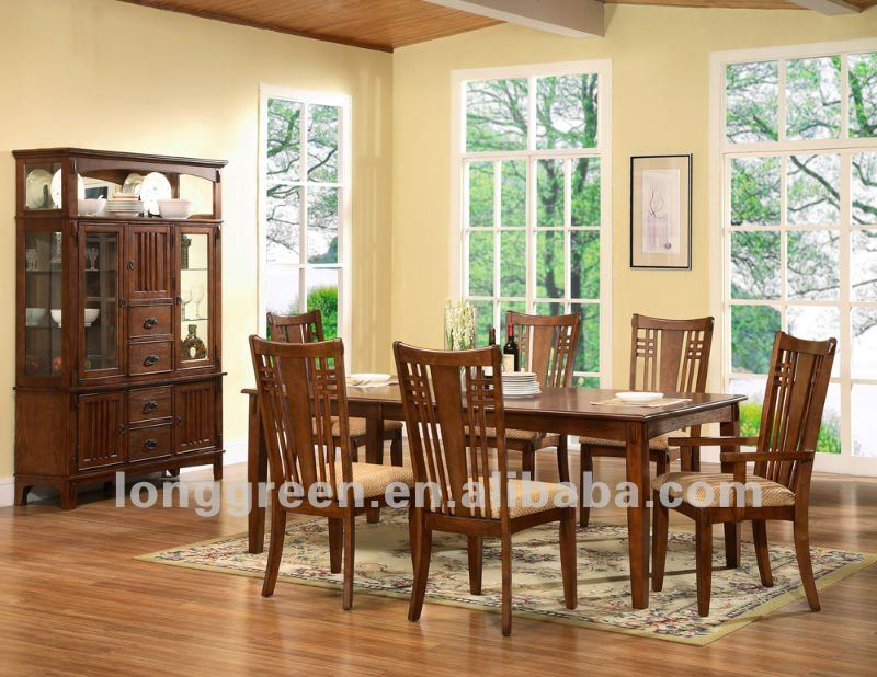 American Style Long Solid Wood Slab dining room tables