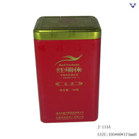 OEM factory rectangle shape empty tea tin cans with inner plug lid