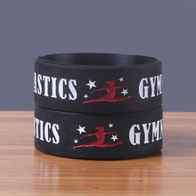Gymnastiek logo rubber armband meisjes gym sport siliconen polsband voor vrouwen sporting <span class=keywords><strong>team</strong></span>