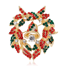AL056 Europe Hot Selling High-end Quality Gold Plated Christmas Bells Wreath Crystal Brooch For Children
