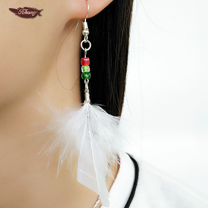 Wholesale Cheap Fashion Earrings 2017 White Turkey Feather Earrings With Bead Decoration