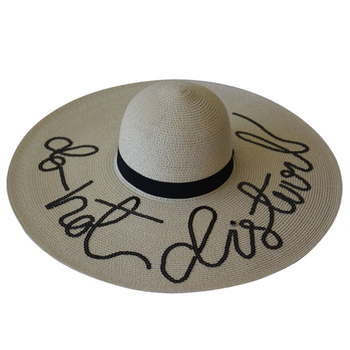efb02ea2 Oem Custom Sequin Embroidery Wide Brim Straw Floppy Hat - Buy Sequin ...