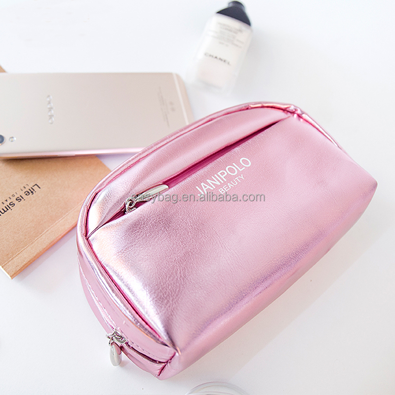 Wholesale Waterproof glossy PU Cosmetic Bag Customized Logo Women's Makeup Bag with Multi-pocket