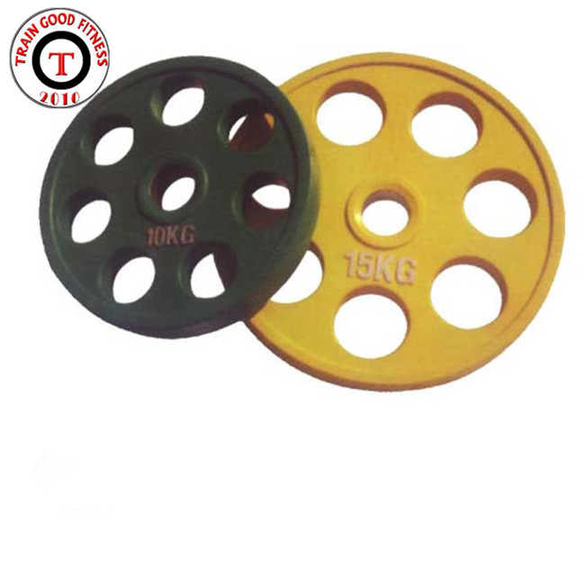 Weightlifting 7 holes black Rubber barbell weight plates