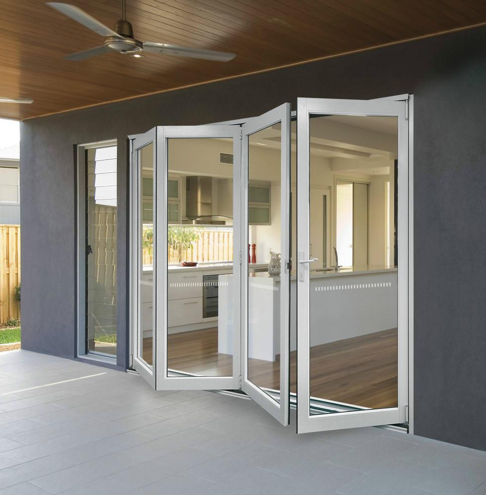 Aluminio enmarcado puertas de entrada de cristal puertas - Puertas plegables de aluminio ...