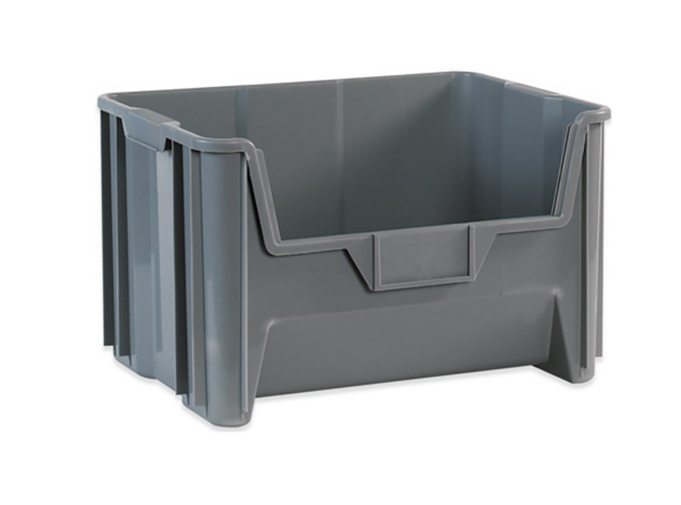 "RetailSource BING112- 19 7/8"" x 15 1/4"" x 12 7/16"" Gray Giant Stackable Bins (Pack of 3)"