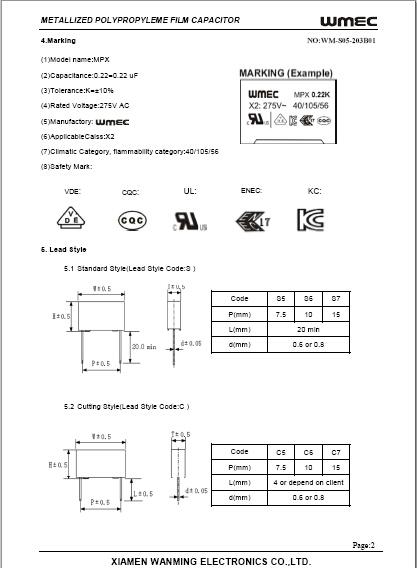 Film Capacitor 250v X2 Class Buy Film Capacitor 250v X2