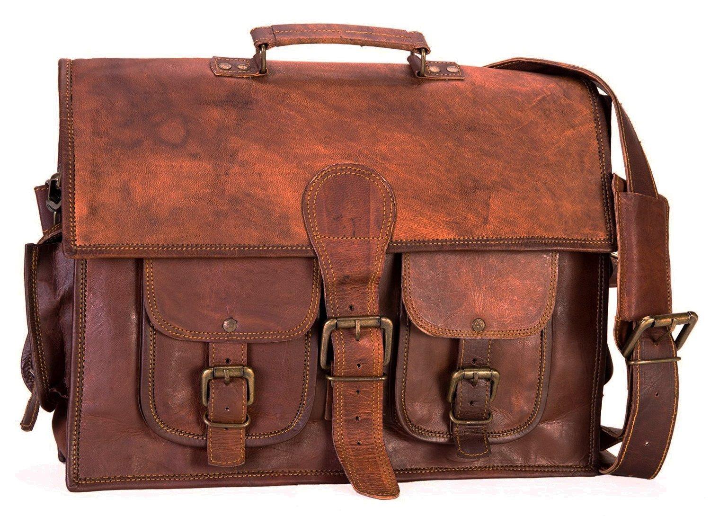 Get Quotations · AOL Leather Vintage Crossbody Messenger Satchel Bag Gift  Work Briefcase Carry Laptop Computer Book Handmade 15 149c3c9125