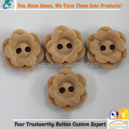 2 Holes Flower Shape Imitated/Fake Wood Buttons For Shirt Botones Garments Accessories Crafts Decoration