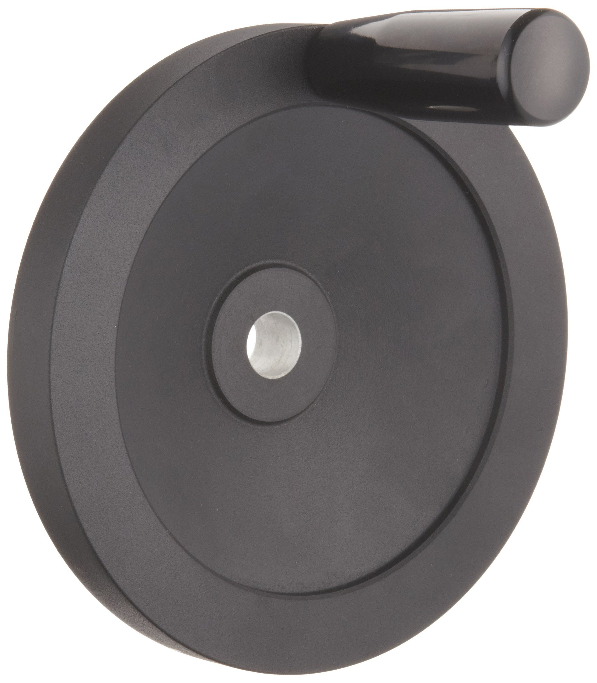 "Black Powder Coated Aluminum Dished Hand Wheel with Revolving Handle, 6-19/64"" Diameter, 5/8"" Hole Diameter (Pack of 1)"
