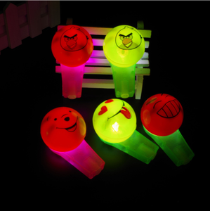 2017 new design kids party smile pattern LED light whistle with battery