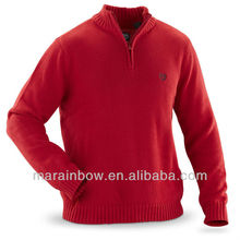 Classic plain design 1/4 - zip Knitted Sweater for Cold weather