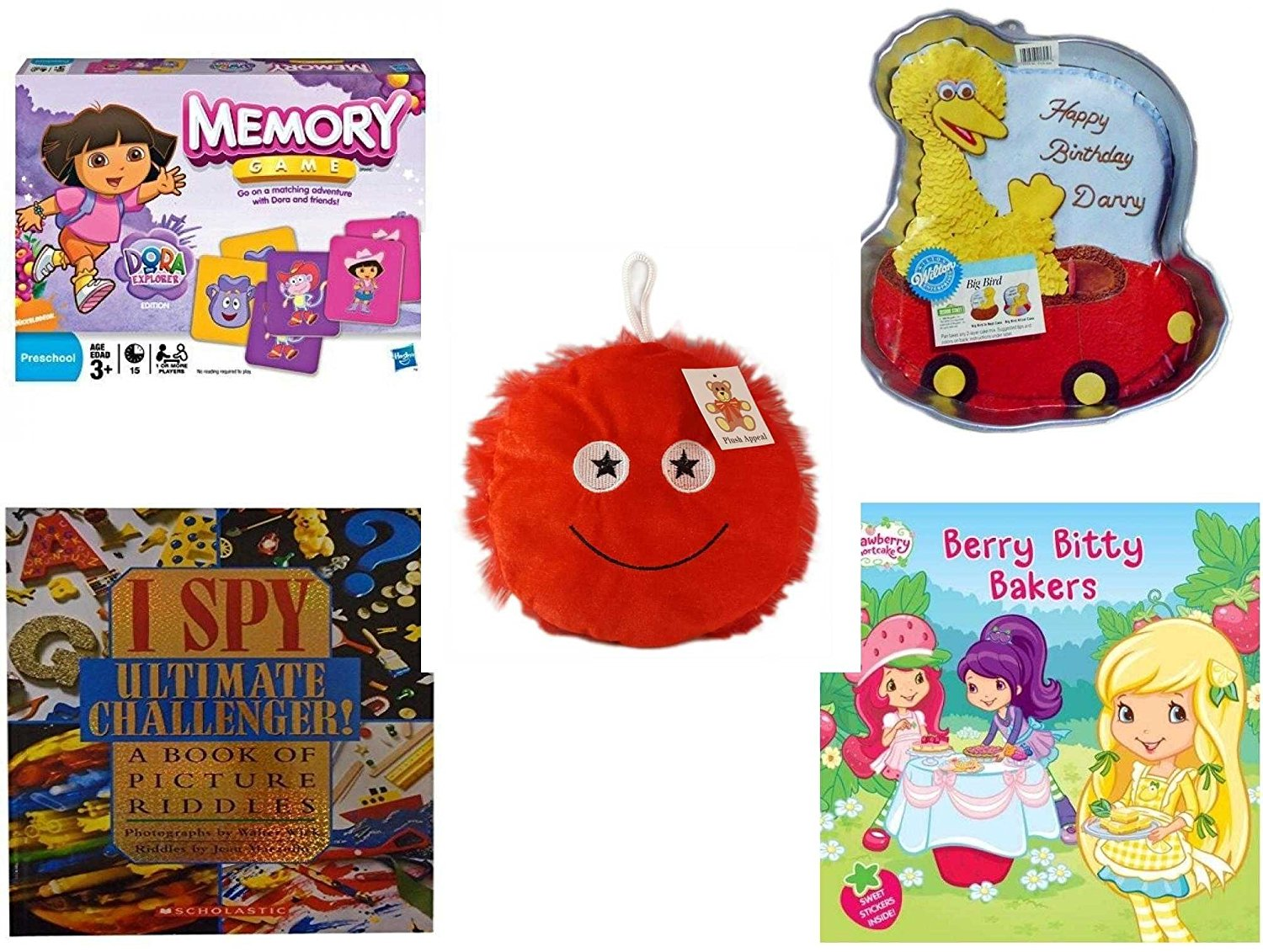 "Children's Gift Bundle - Ages 3-5 [5 Piece] - Dora The Explorer Edition Memory Game - Sesame Street Big Bird Cake Pan - Plush Appeal Red Fuzzy Happy Face Plush 7"" - I Spy Ultimate Challenger: A Boo"