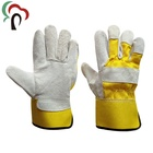 Yellow cow suede cheap leather safety welding gloves