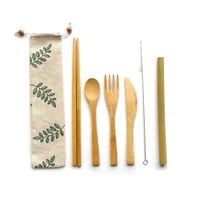 Bamboo and Stainless Steel Travel Cutlery Set of 6 with Chopsticks and Straw