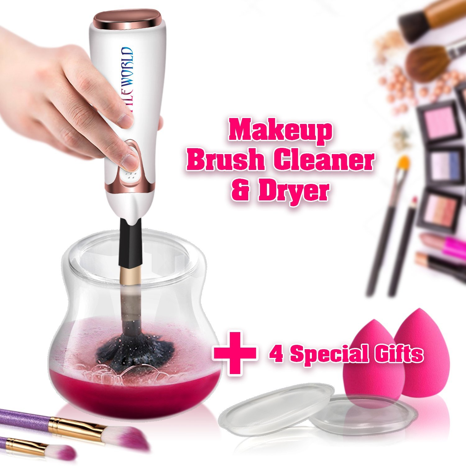 Makeup Brush Cleaner and Dryer Spinner Machine,Upgraded Automatic Electric Spinning Makeup Brush Cleaner, Cleans and Dries Makeup Brushes in Seconds for All Size Brushes+4x(Makeup Sponge and Silicone)