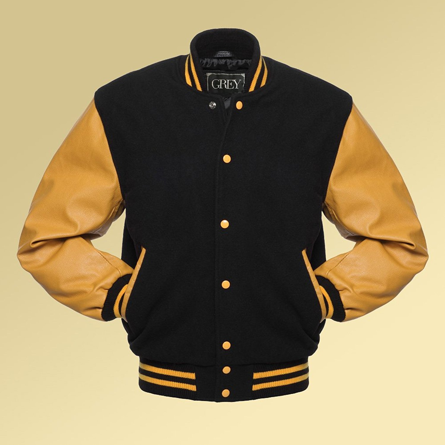 558c8326ac5 Get Quotations · Varsity Jacket for Men's (Black/Yellow Gold) Lettermen  Wool Body/Leather Sleeves