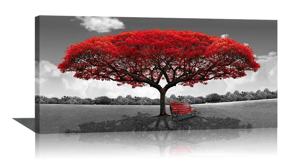 Get Quotations · Large Black And White Picture Wall Art Framed Canvas Print  Red Tree Bench Decor Modern Artwork