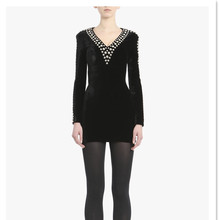 Elegant high quality sexy women black beading v neck long sleeve bodycon party dress