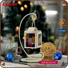 hot sale mini square metal lantern with colourful glass hanging for home decor