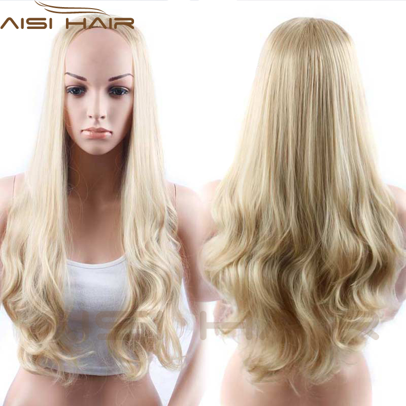 AISI HAIR cheap wholesale white women blonde synthetic hair fiber u part 3/4 wig ombre u part half wigs for black women