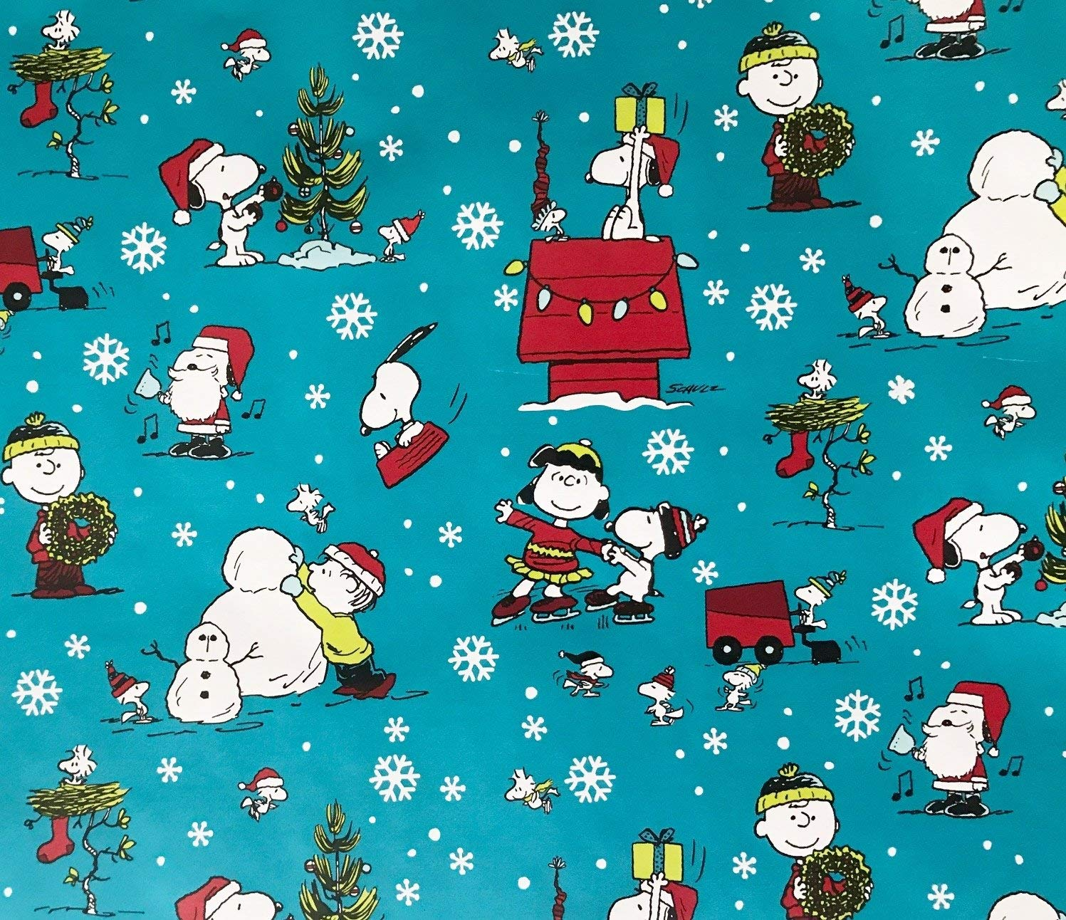 Peanuts Christmas Wrapping Paper Gift Wrap - Snoopy Charlie Brown & Woodstock (2.5 Feet Wide -- 22.5 Square Feet)