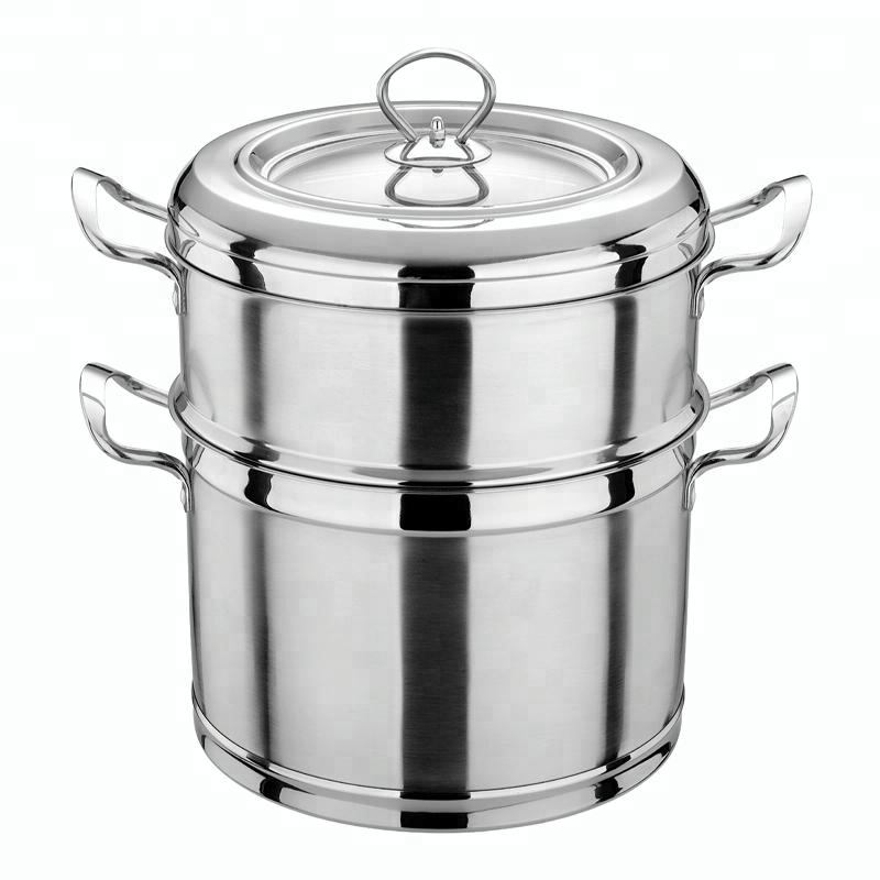 Stainless steel food steamer pot double boiler with lid