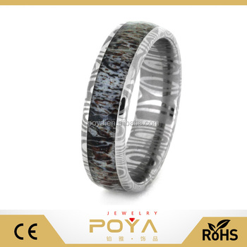 POYA Jewelry Deer Antler Wedding Ring with Damascus Steel Band Ring
