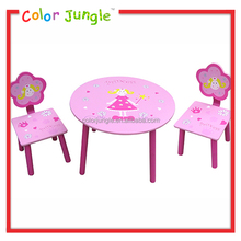 Low price wood round kids study table, wooden children table and chair for kids