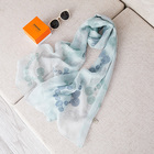 Embroidered silk scarf lady's mother sun gauze multi-functional scarf sheer shawl