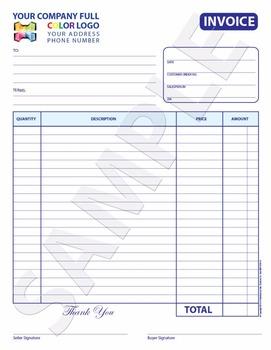 Part Color Custom Invoice Receipt Estimate Quote X - 3 part invoice book