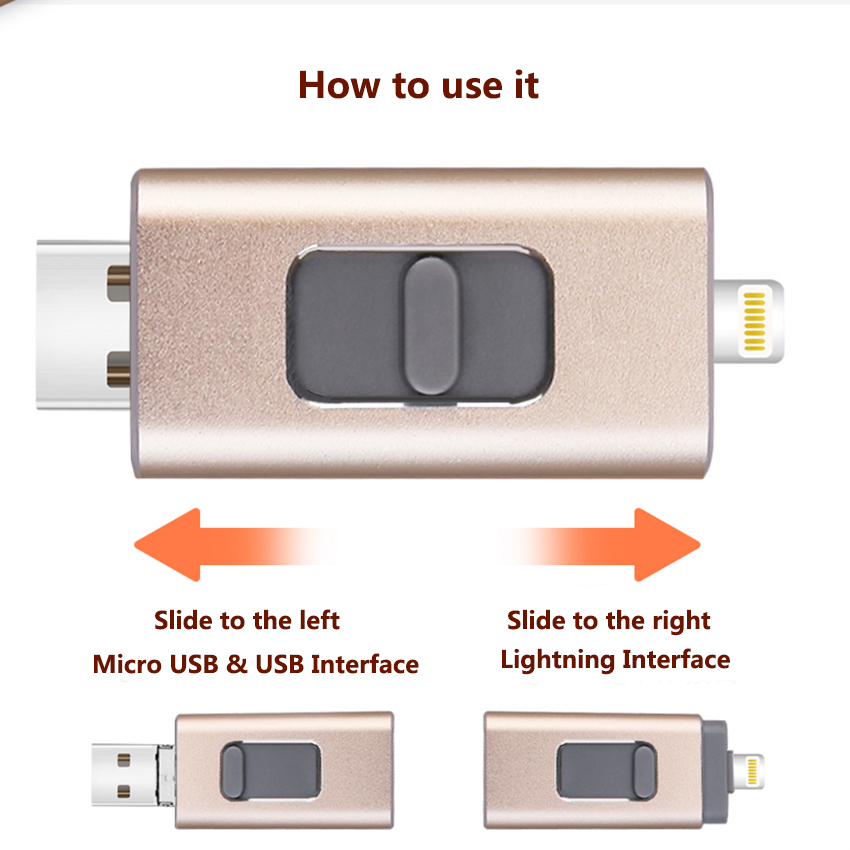 3 In 1 OTG Extensible USB Flash Drive Micro TF Card Reader untuk iPhone Lightning Android MICRO USB