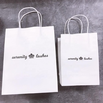 Recyclable Kraft Paper Bag With Your Own Logo, Custom Shopping Paper Bag For Food With Handle
