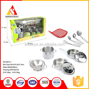 Traditional Chinese Tableware Stainless Steel Kitchen Set Toy Real