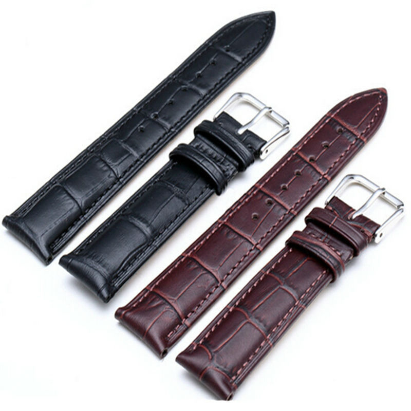 Black Brown Color Genuine Leather Watchband 18 20 22 24mm Pin Buckle Watch Strap Band for omega Watch High Quality