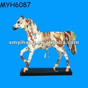 Resin collectible colorful painted Outdoor Horse Statues