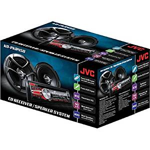 JVC Single-Din In-Dash CD Radio Stereo Receiver with Speakers System, Features AM/FM Tuner, and Playback of CD, CD-R, CD-RW, MP3 and WMA, with Expandibility Options for Bluetooth iPhone/iPod, and Comes with 2-Way Coaxial Speakers