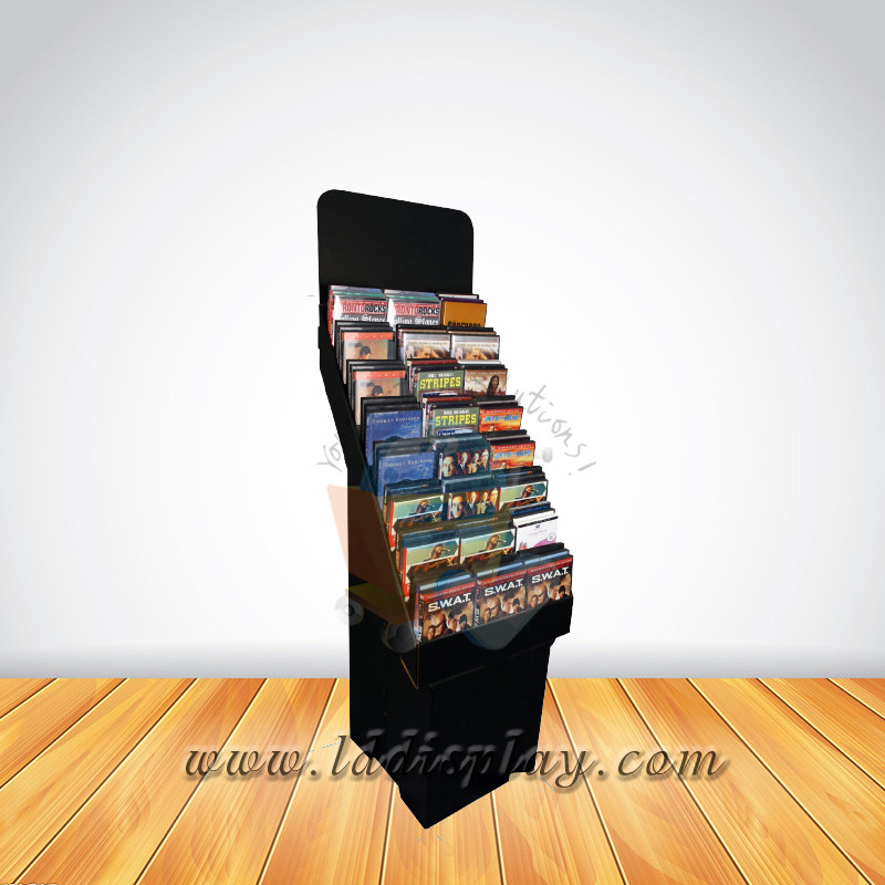 Custom cardboard retail dvd display stands / dvd display rack