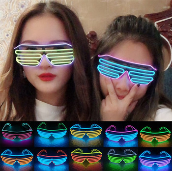LED Luminous Glasses Halloween Glowing Neon Christmas Party Flashing Light Glow Sunglasses Glass Festival Supplies Costumes