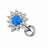 Heart Opal Center CZ Filigree Cartilage Earring Stud Daith earring Tragus Helix Piercing