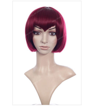 Red Short Hair Wigs With V Bangs Buy Short Wigs With Bangs Short