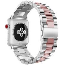 Ремешок для часов, из нержавеющей стали для Apple Watch 44 мм 40 мм iWatch 42 мм/38 мм металлический браслет Apple watch 5 4 3 2 1 Аксессуары(Китай)