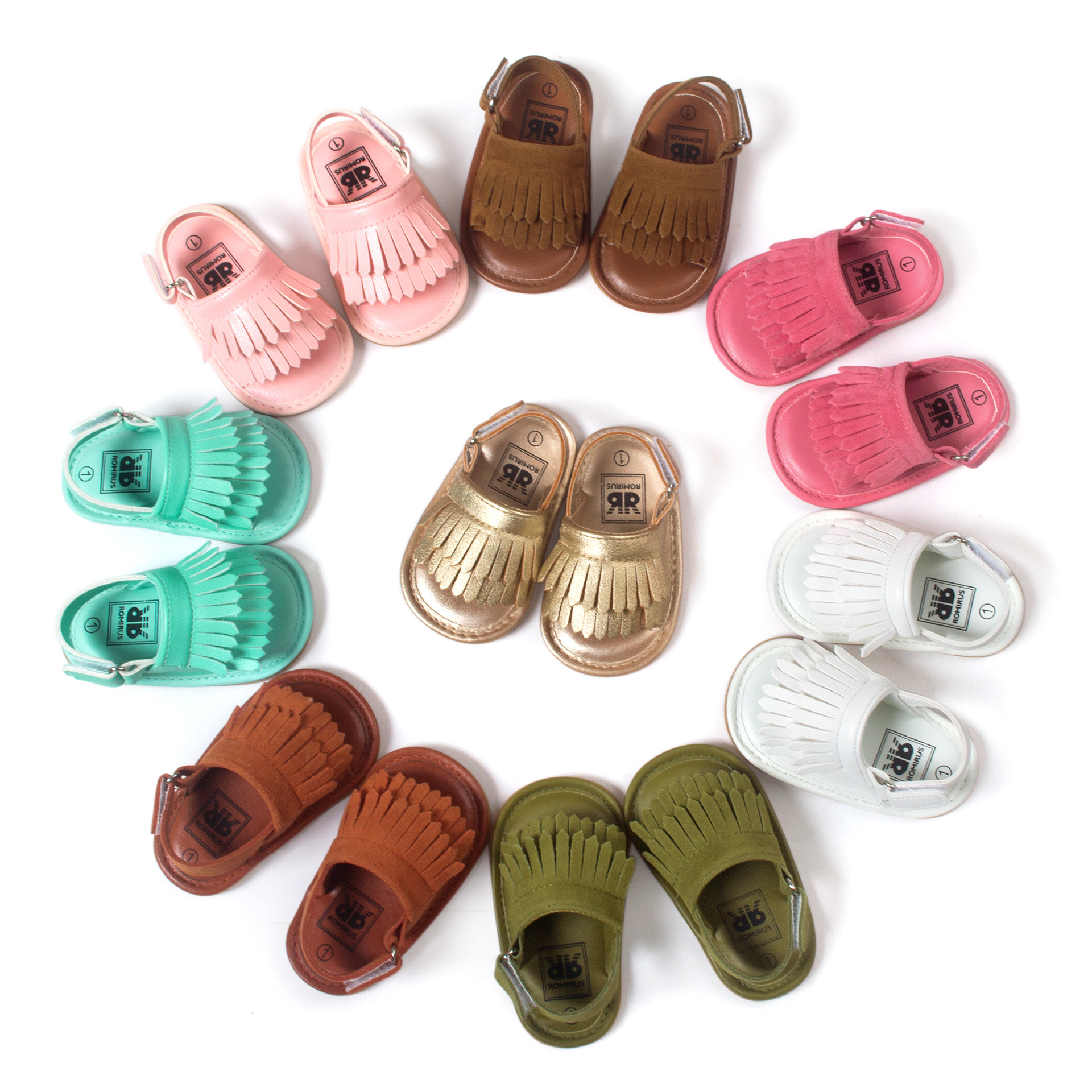 Cool Summer 2016 Freshly Picked Moccasins Sandals Baby Shoes Leather Tassels Babies Toddler Shoes Rubber Soled