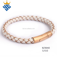 Best selling fashion braided leather bracelet for men or women with gold magnetic closure