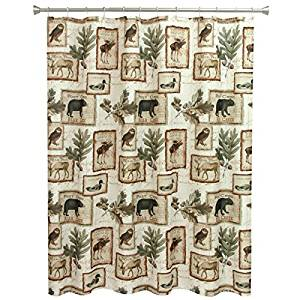 Wildlife Bear Moose Deer Shower Curtain for Bathroom, Horizontal Hunting Themed Pattern, Wild Game Animals Owls Ducks, Southwestern Nature Design, Brown Beige Green, Cottage Cobin Lodge 70 in X 72 in
