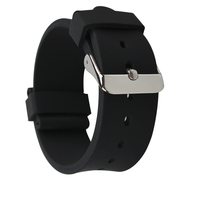 18mm 20mm 22mm 24mm Classic Black Color Sharp Silicone Watch Straps