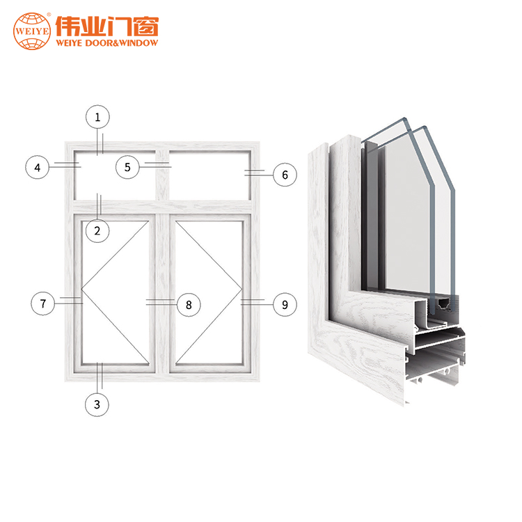 Chinese supplier waterproof casement sash aluminum window cheap house window for sale