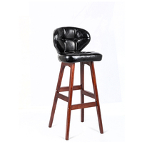 Black Pu leather Birch bentwood master wooden stool high bar stool supplier with footrest